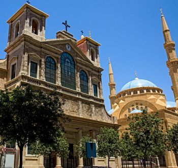 Church of Saint George Maronite and Mohammad Al-Amin Mosque coexist side by side in Downtown Beirut