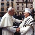 Pope John Paul II and chief rabbi of Rome Elio Toaff
