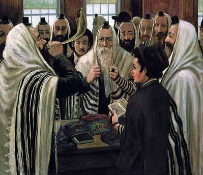 Jews blowing the shofar in the synagogue on the month of Elul