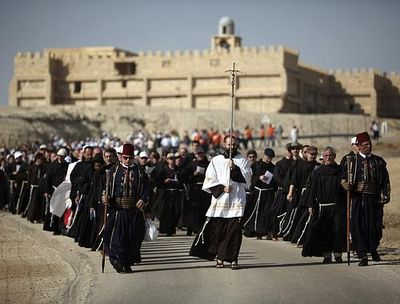 Franciscan friars on their way to the Jordan River